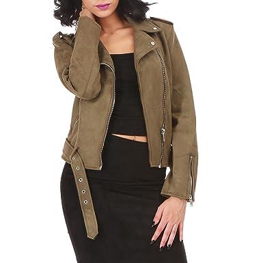 60b303a306b4c La Modeuse - Veste en Simili Daim Courte Style Motard  Amazon.fr  Vêtements  et accessoires