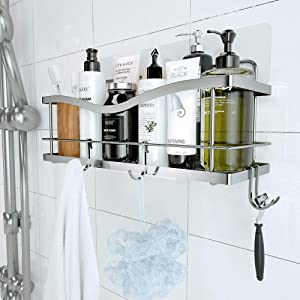 KINCMAX Shower Caddy Basket Shelf with Hooks for Hanging Sponge and Razor,Shampoo Holder Organizer,No Drilling Adhesive Wall Mounted Bathroom Shelf,Rustproof SUS304 Stainless Steel