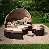 Harrison 4-Piece All-Weather Wicker Patio Daybed With Canopy Set