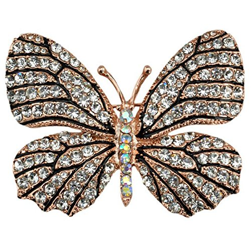 Reizteko Winged Butterfly Crystal Rhinestones Brooch Pin (Black White)