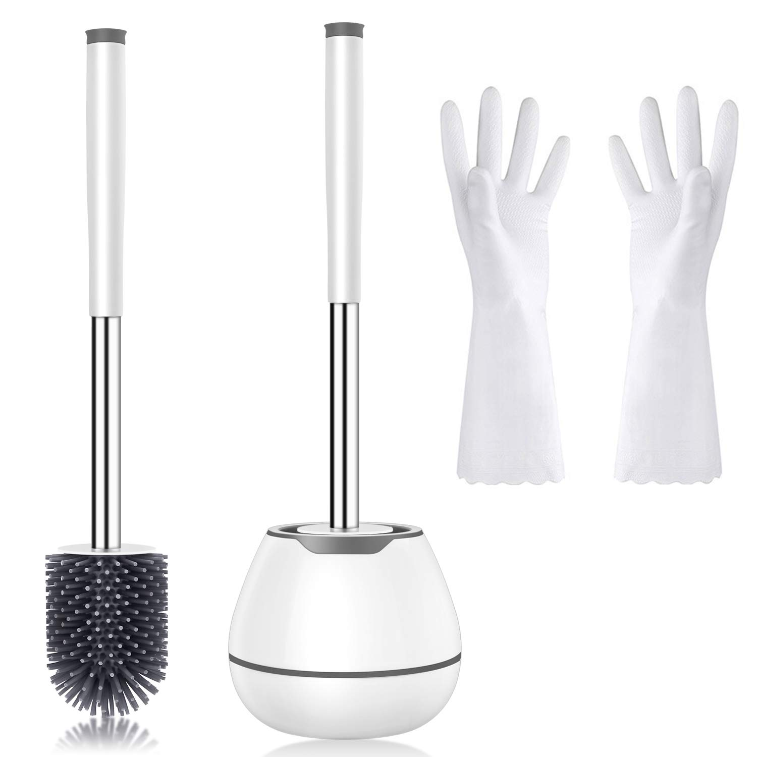 WC Toilet Brush and Holder, Bathroom Toilet Bowl Brush with Cleaning Gloves and Tweezers, White Toilet Brush Cleaner Set, Space Saving & Sturdy