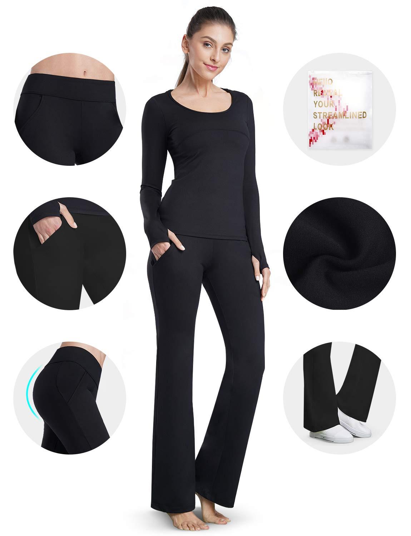 Bamans Yoga Dress Pants for Women Bootcut, Slant Pockets, Wide Flare, Workout Long Bootleg Dress Yoga Pants (Black, Large)