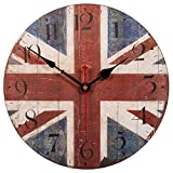 SkyNature Nostalgic Decorative Wooden Wall Clock British Flag Rustic Retro Style Silent Non Ticking for Living Room (14 Inch The Union Jack)
