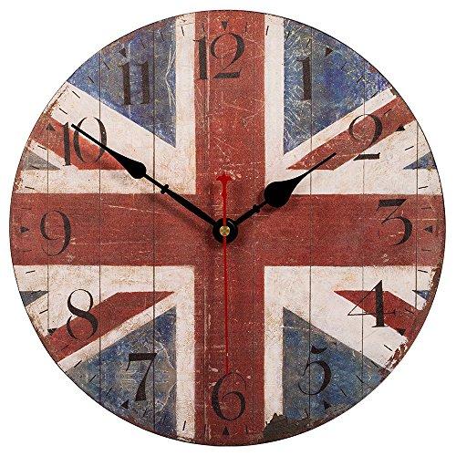 Skynature Nostalgic Decorative Silent Non Ticking Wooden Wall Clock British Flag 12 Inch The Union Jack