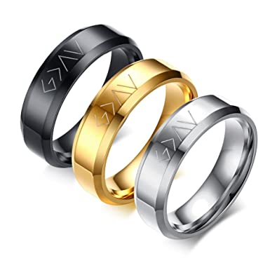 Amazon.com: Vnox - Anillo cristiano de acero inoxidable con ...