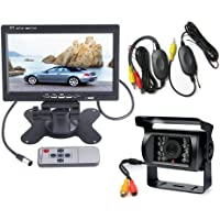 "7"" LCD Monitor Car Vehicle Rear View Kit + 18 LED IR Night Vision Wireless Waterproof Reversing Backup Camera for Bus/Truck/Van/Caravan/Trailers/Camper"