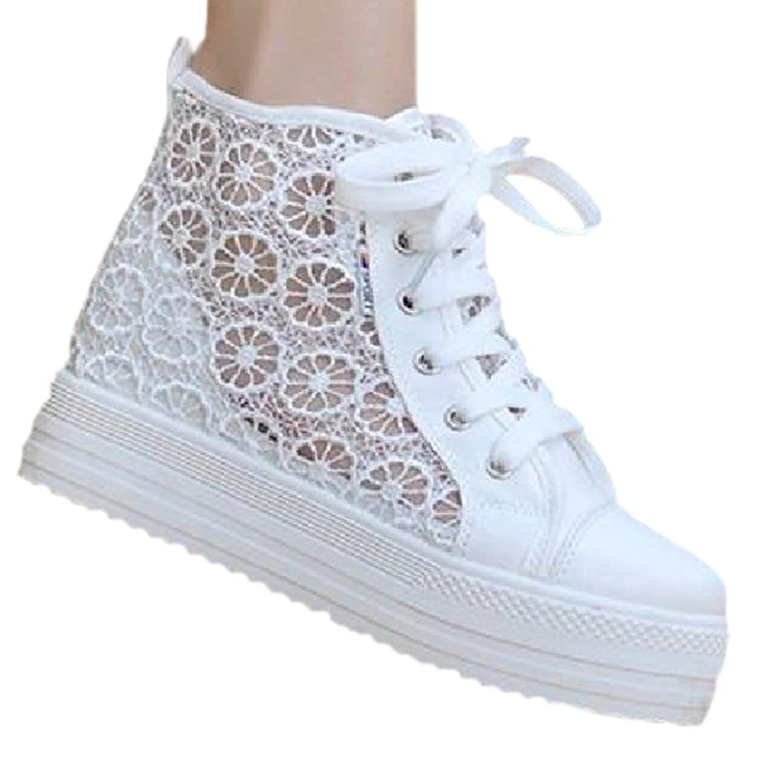 Ace Women's Summer High-top Platform Breathable Lace Shoes Fashion Sneakers (7.5)
