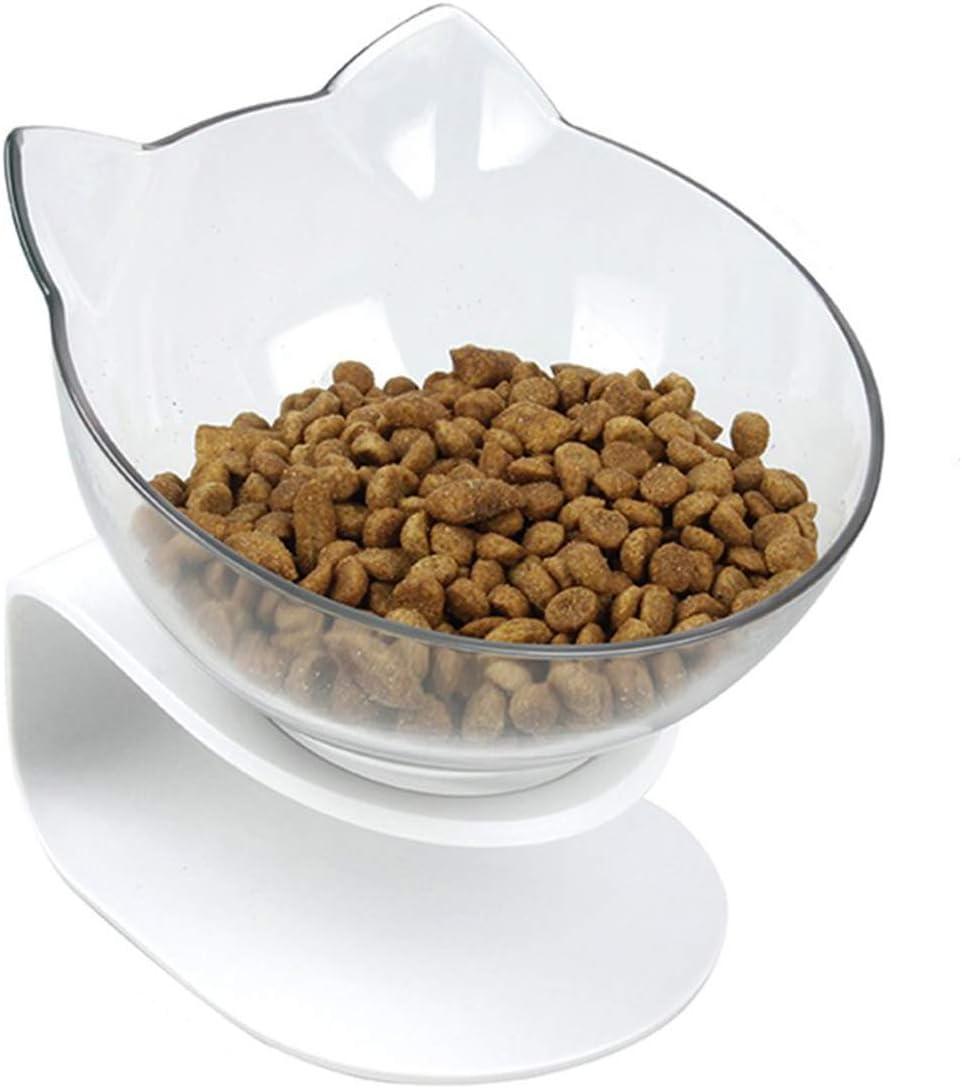 NONE Juego de Tazones Elevados para Comida Y Agua para Gatos Tazones de Cer/ámica Elevados para Comederos para Gatos con Banda Antideslizante