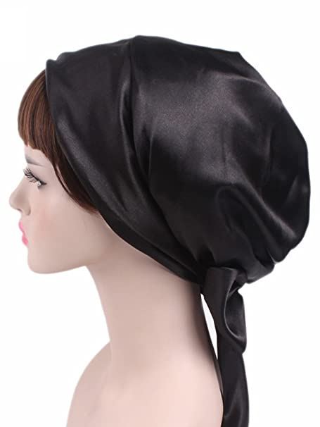 a1e3c42fbbf Zando Women Soft Chemo Headscarf Satin Sleeping Bonnet Curly Hair Wrap Hair  Loss Turban Hat Black One Size at Amazon Women s Clothing store