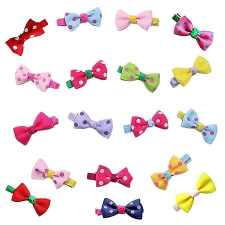 20Pcs Hair Bows Band Boutique Alligator Clip Grosgrain Ribbon For Girl Baby BH