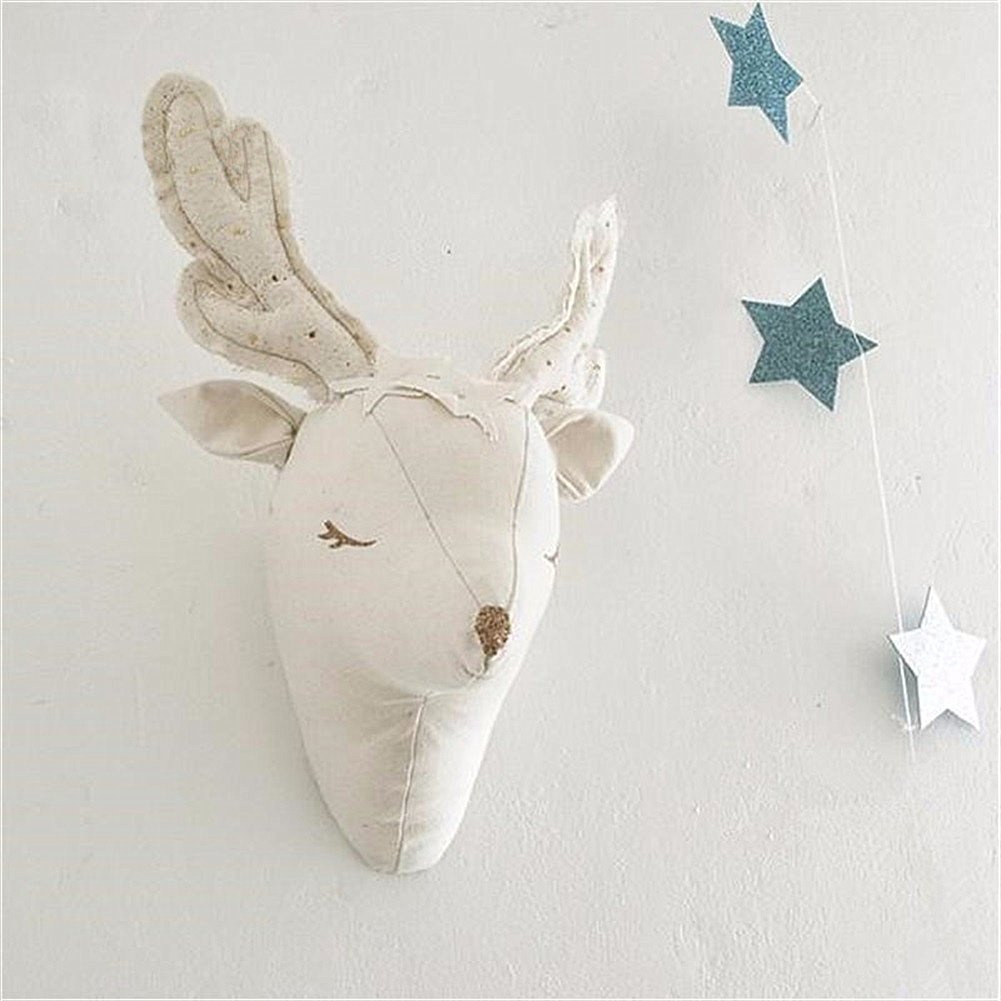 3D White Animal Deer Head Wall Hanging Decorations Toys Kids Nursery Bedroom Artwork Baby Room Home Decor Gifts Idea for Baby Kids