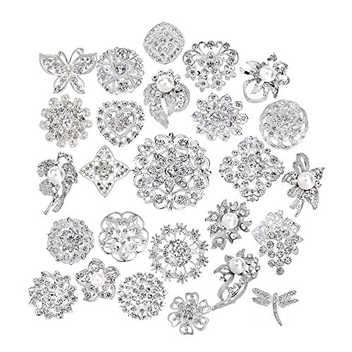 Lot 25pcs bridal and wedding brooch button bouquet kit set Brooches for ()