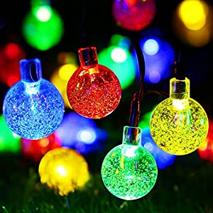 APEXPOWER [Rechargeable Battery Included] Battery Operated Lights, Automatic Timer Controllable 30LED 21ft 8 Modes String Lights for Outdoor Indoor Garden Party Tree Decoration