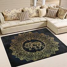 Hippie Indian Elephant Mandala Floor Play Mat For Dining Room Living Room Bedroom, 7'x5'