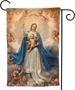 "YISHOW Virgin Mother Mary Jesus Christ Christian The Lord Garden Flag Double Sided Vertical Christian God Blessed Virgin Mary House Flags Yard Signs Outdoor Decor 12.5""X18"""