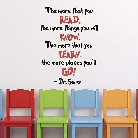 Amazon.com: Dr Seuss Graduation Quotes Vinyl Wall Decals The ...