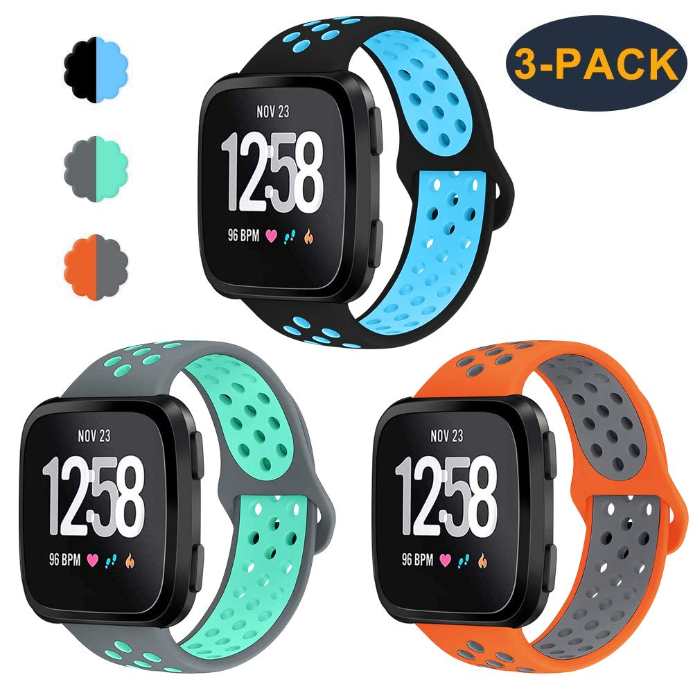 CAVN 3-Pack Bands Compatible with Fitbit Versa 2 / Versa/Versa Lite Edition for Men Women, Sweat Resistant Replacement Accessory Strap Bracelet for Versa Smartwatch 61JXoyEY9sL