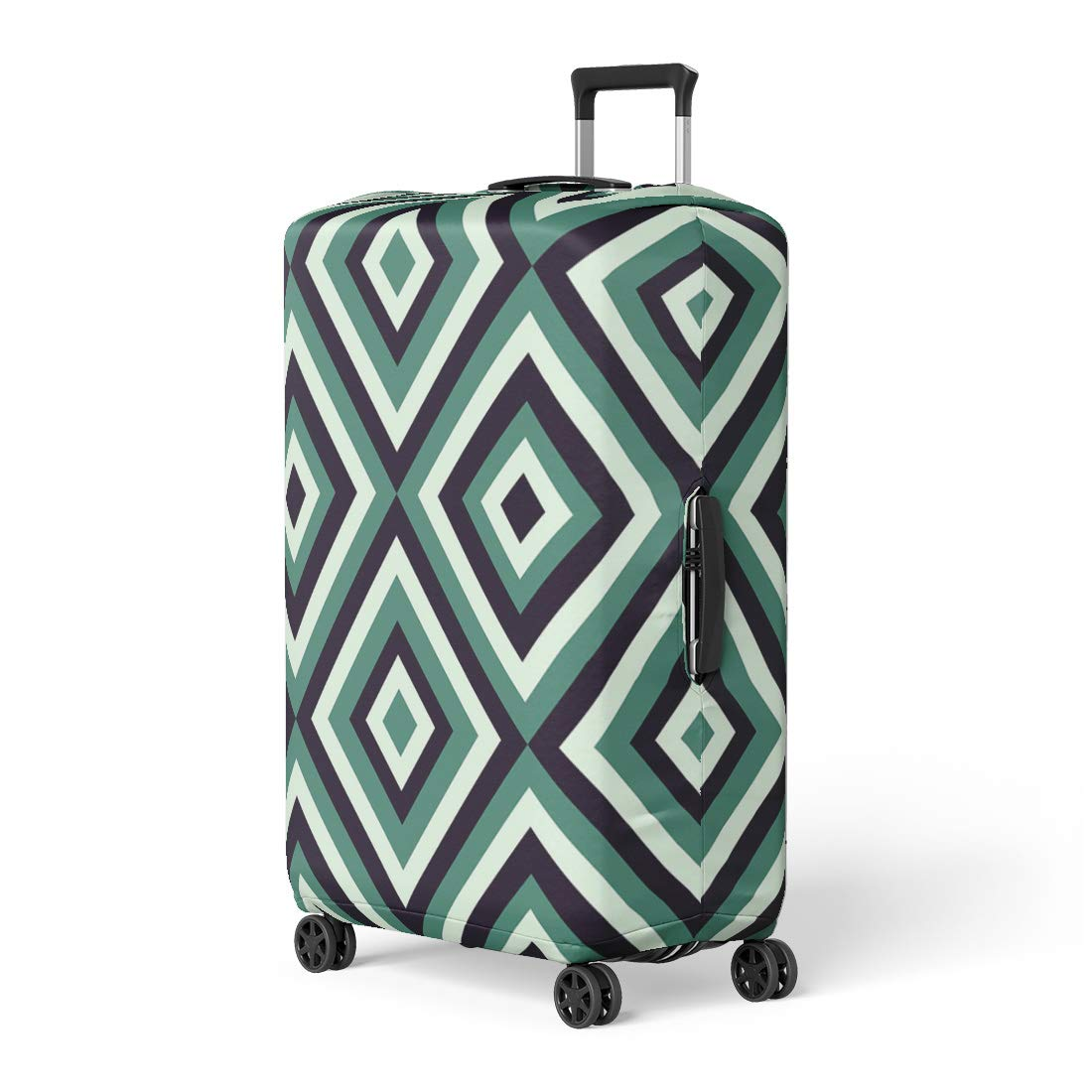Pinbeam Luggage Cover Green Geometrical Pattern in Retro Colors for Colorful Travel Suitcase Cover Protector Baggage Case Fits 26-28 inches