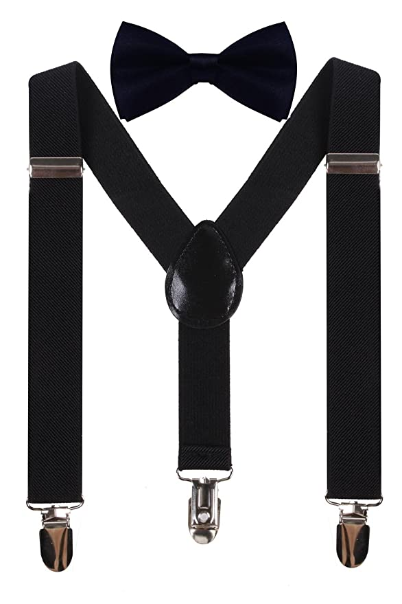1930s Childrens Fashion: Girls, Boys, Toddler, Baby Costumes WDSKY Kids Boys Elastic Adjustable Suspenders Matching Bow Tie Set for Child $10.99 AT vintagedancer.com
