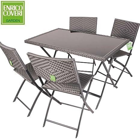 Set Tavolo E Sedie Da Giardino Enrico Coveri.Set Completo Space Tavolo 4 Sedie Richiudibili Colore