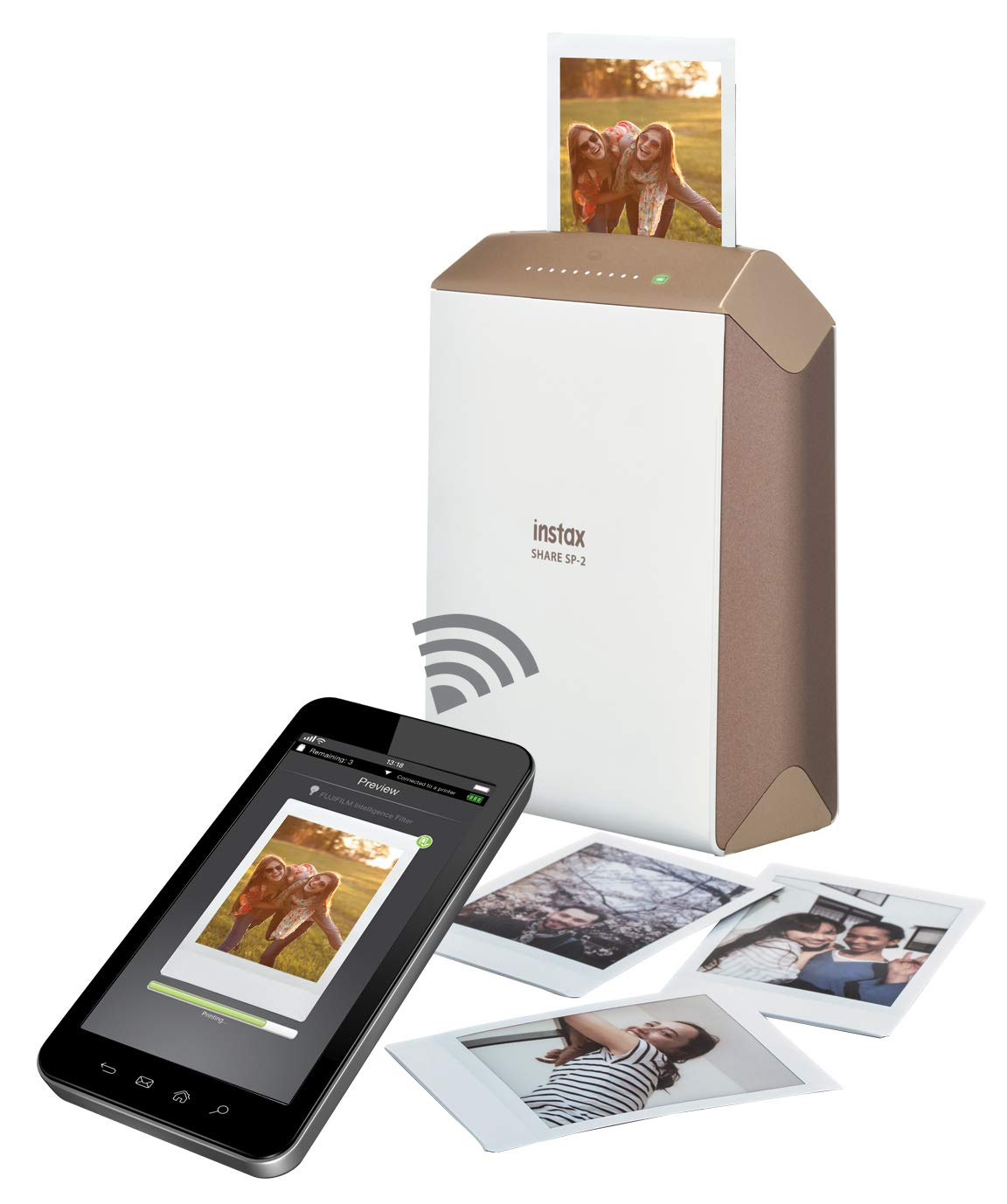Fujifilm INSTAX Share SP-2 Mobile Printer (Gold) with Instax Mini Instant Film Value Pack - 120 Photos