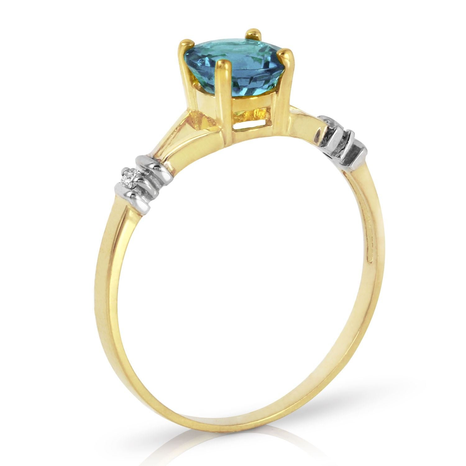 ALARRI 1.02 CTW 14K Solid Gold Love's Ingredient Blue Topaz Diamond Ring With Ring Size 11 by ALARRI (Image #2)