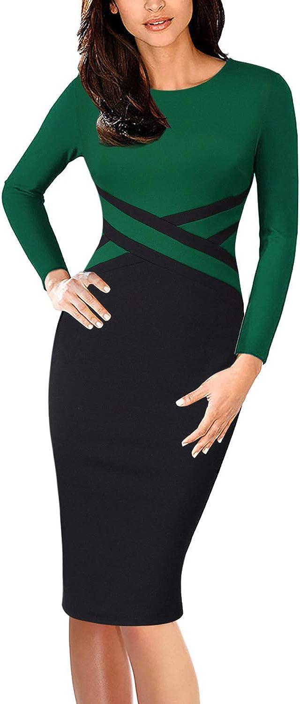 VFSHOW Elegant Womens Colorblock Work Business Office Church Sheath Dress