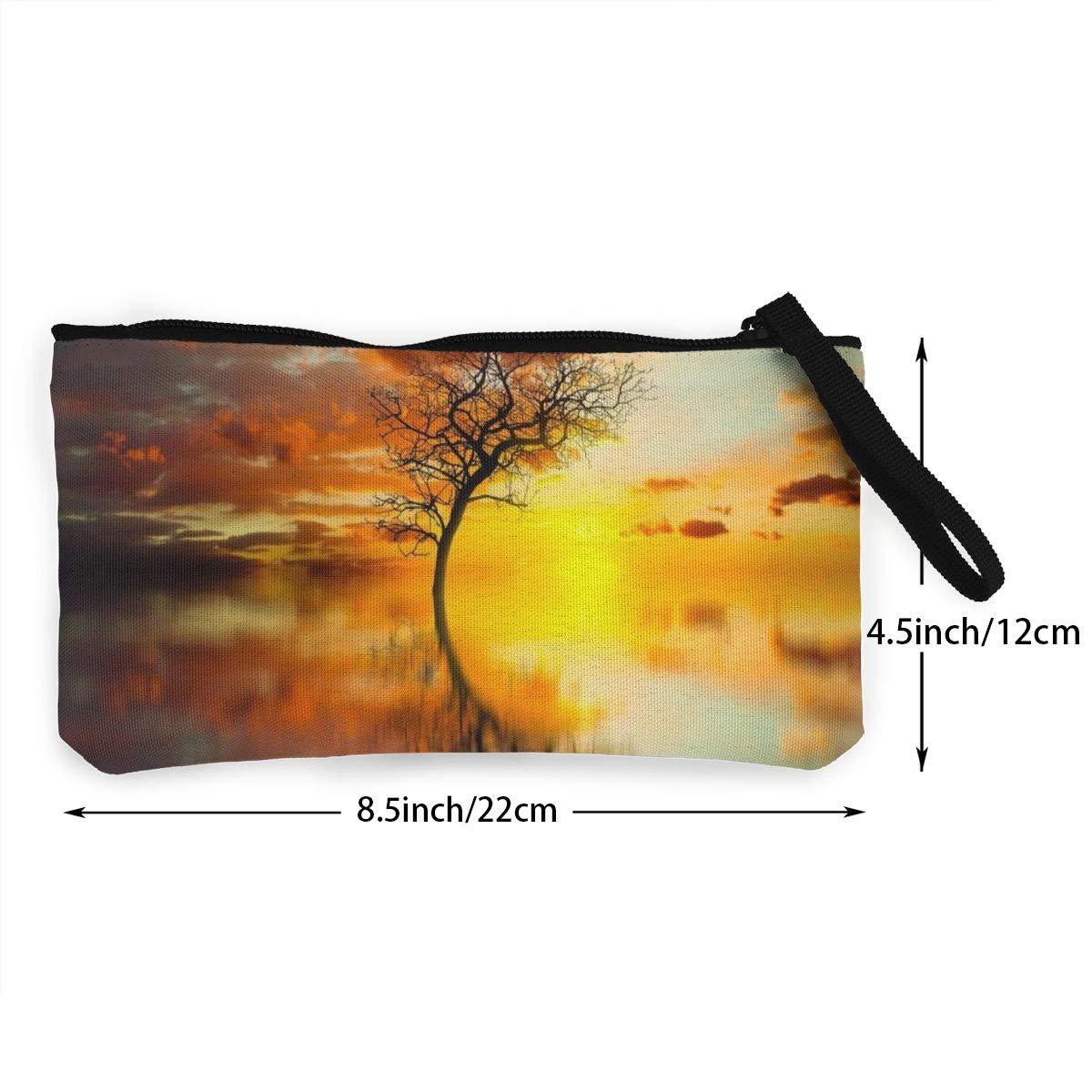 YUANSHAN Nature Sun Light Unisex Canvas Coin Purse Change Cash Bag Zipper Small Purse Wallets with Handle