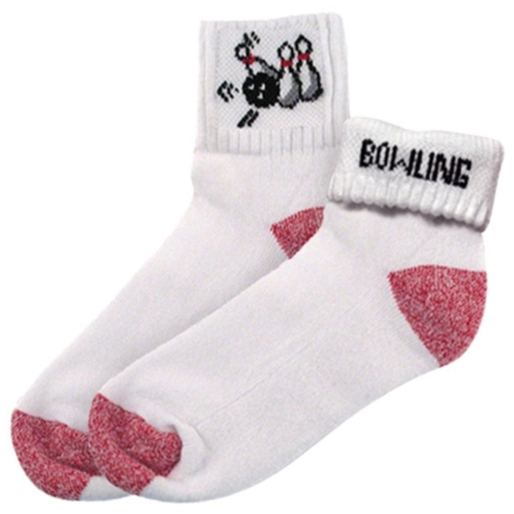 Ladies Bowling Pins Socks by Master (One Size Fits Most, White/Black/Red)