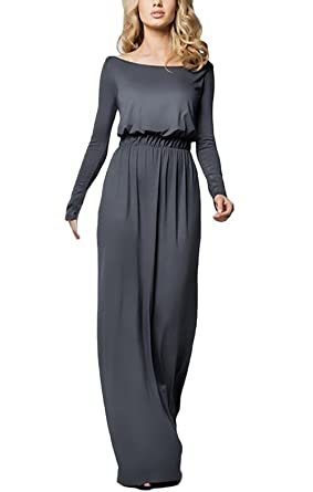 HX fashion Vestidos Mujer Vestidos De Fiesta Largos Elegantes Con Manga Larga Alto Basic Cintura Sueltos