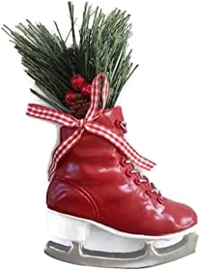 Red Ice Skate Christmas Ornament, Vintage Winter Holiday Decor