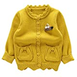 Moonnut Little Girls' Cute Pockets Knit Cardigan Sweater,3T,Yellow