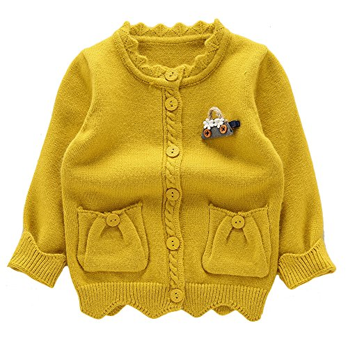 Moonnut Little Girls' Cute Pockets Knit Cardigan Sweater,3T,Yellow by Moonnut