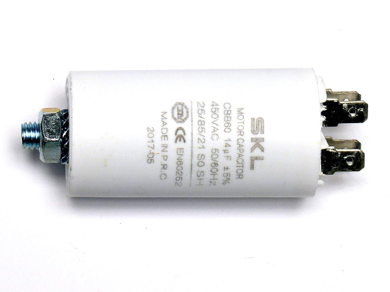 MKP - Kondensator 14,0uF, Motorkondensator 14µF 450VAC (CBB60), verwendbar als Betriebskondensator oder Anlaufkondensator (Anlasskondensator) aus selbstheilender metallisierter Polypropylenfolie im Kunststoffbecher, Anschluß über Flachstec