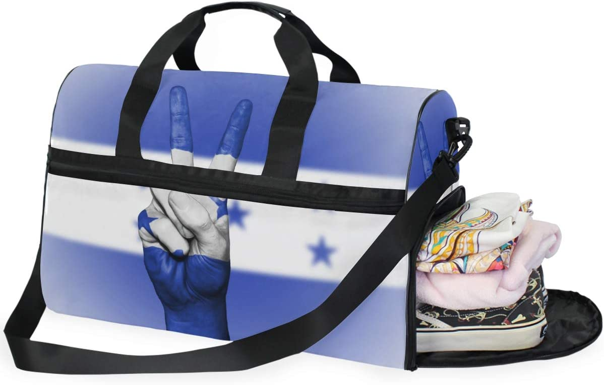 MUOOUM Honduras Flag Peace Hand Large Duffle Bags Sports Gym Bag with Shoes Compartment for Men and Women