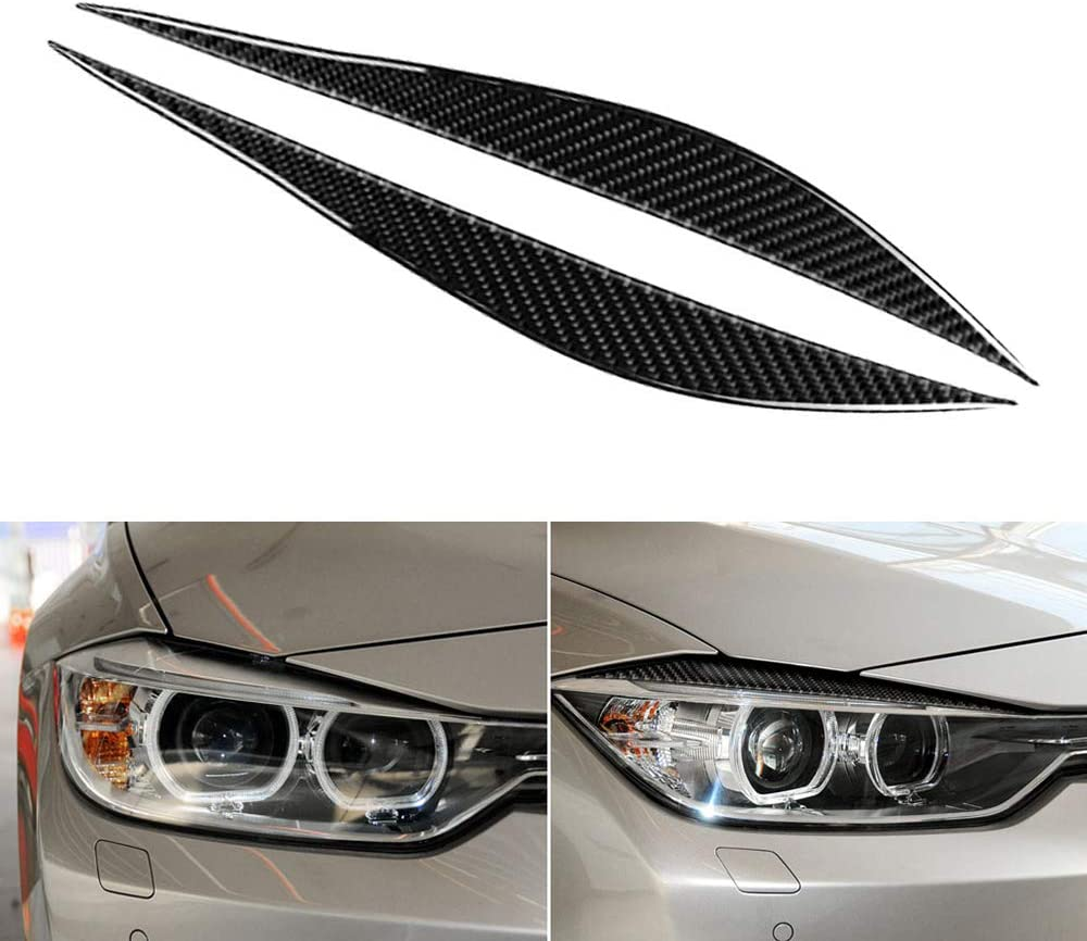 Carrfan Front Headlight Eyebrow Decorative Cover Sticker Carbon Fibre For Bmw F30 F31 F32 F33 F34 2012 2020 Auto