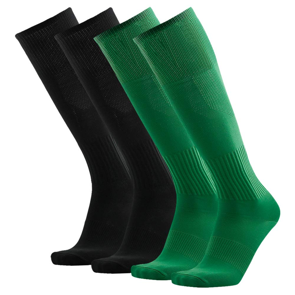 Baseball Softball Socks, Three street Women's Men's Professional Athletic Sports Over Knee Fitness Running, Soccer, Workout Long Compression Socks for Back to School Green Black 4 Pairs by Three street