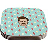 "KESS InHouse Juan Paolo ""Give Me All Of The Bacon And Eggs Parks & Recreation"" Coasters (Set of 4), 4 x 4"", Multicolor"