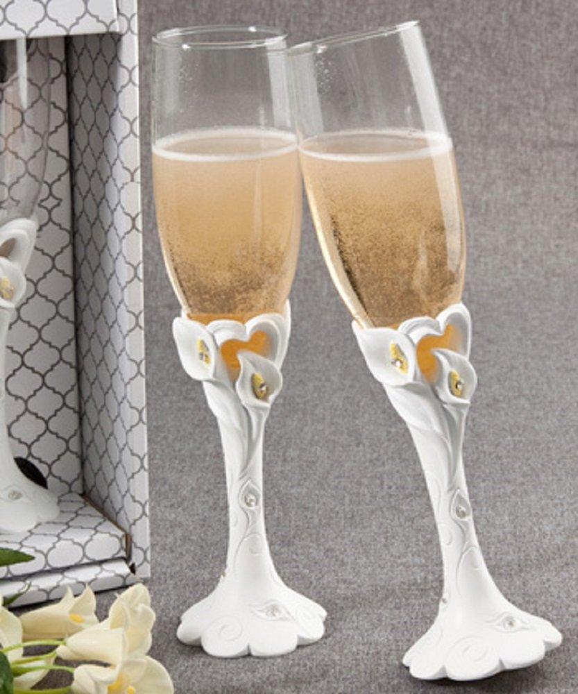 Calla lily design toasting flutes, 1 piece