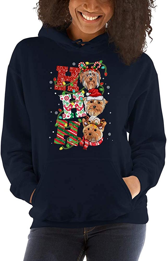 TEEPOMY Ho Ho Ho Yorkshire Terrier Yorkie Cute Dog Lovers Christmas Hoodie