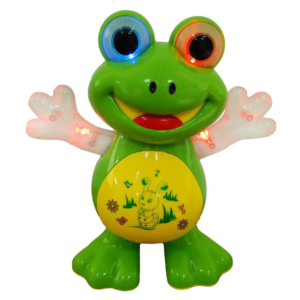 Goodfans Battery Powered Dancing Frog Musical And Colorful Flashing Lights Kids Fun Toy