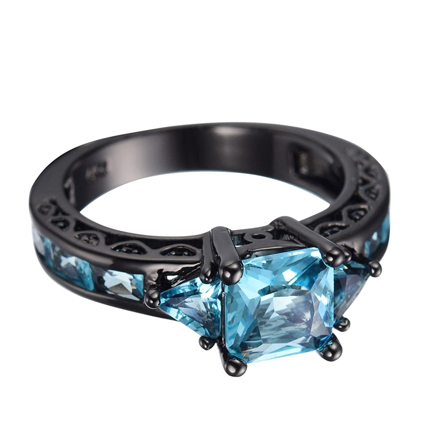 amazoncom junxin black gold aquamarine blue diamond antique rings princess cut wedding size567891011 jewelry - Blue Diamond Wedding Ring