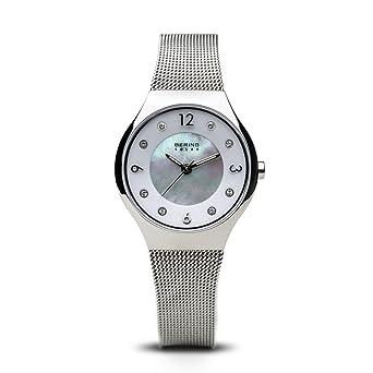 BERING Reloj Analógico para Mujer de Energía Solar con Correa en Acero Inoxidable 14427-004: Amazon.es: Relojes