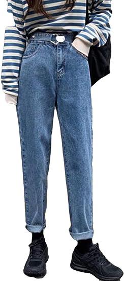 YiTongデニムパンツ レディース 無地 シンプル ロングパンツ ジーンズ ストレート 九分丈 秋冬 厚手 ブルー パンツ 通勤通学 パーティー ファッション