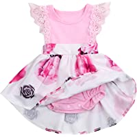 HappyMA Infant Toddler Baby Girl Clothing Floral Dress Lace Ruffle Long Sleeve Skirt Outfit