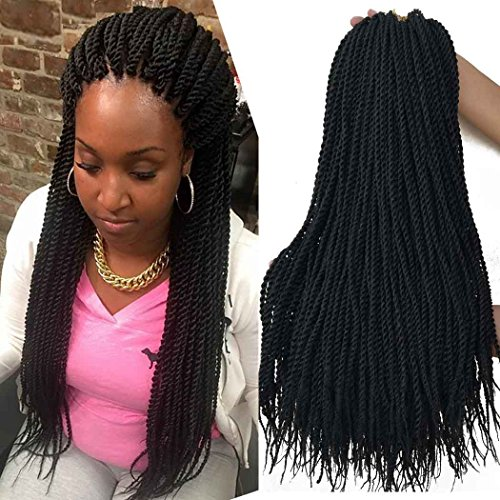 18 inch 8 Packs senegalese crochet braids 30strands/pack Synthetic Crochet Braiding Hair black senegalese twist hair (Best Hair For Box Braids With Loose Ends)