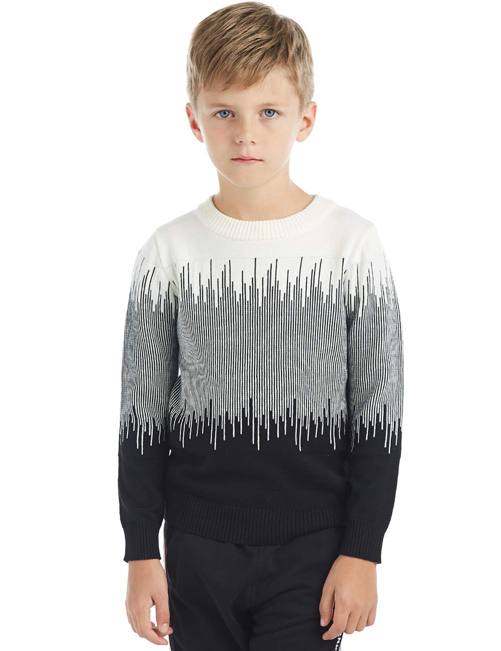 BYCR Boys' Elastic Pullover Sweater Crew Neck Cotton Sweatshirt Casual Style