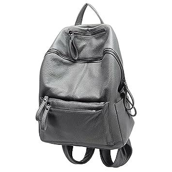 680e76f243aeb UTO Damen Backpack Purse PU gewaschen Leder Ladies wasserdicht Rucksack  Schultertasche grau