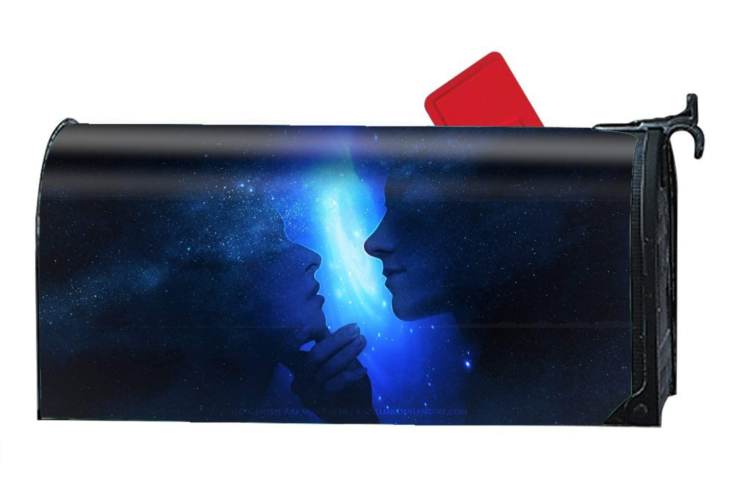 Custom Magnetic Mailbox Cover Mail Wrap for Standard Mailboxes Cover-Artistic Love Couple Man Woman Profile Blue
