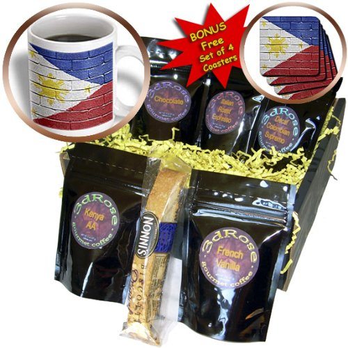 Carsten Reisinger Illustrations - National flag of Philippines painted onto a brick wall Filipino - Coffee Gift Baskets - Coffee Gift Basket (cgb_156968_1)